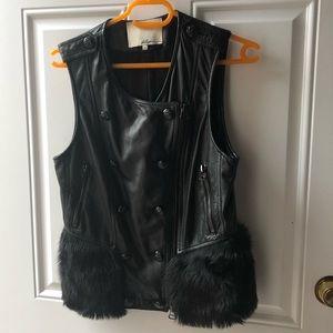 3.1 Phillip Lim Leather and Fur Trim Vest